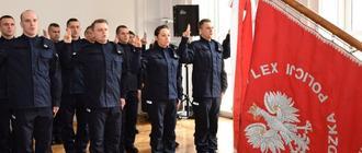 Ślubowanie nowych funkcjonariuszy policji. Marzec 2019 r. Fot. Policja