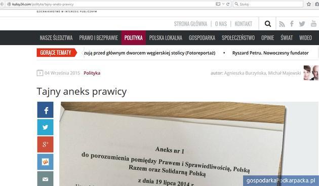 """Podkarpackie w """"tajnym aneksie prawicy"""" - kulisy24.com"""