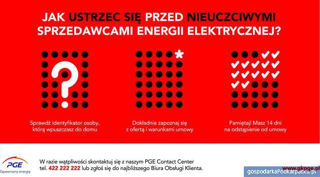PGE ostrzega klientów przed nieuczciwymi sprzedawcami energii