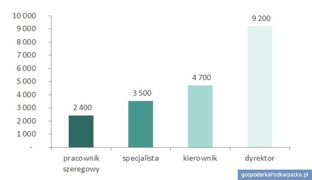 Mediany wynagrodzeń całkowitych w województwie podkarpackim w2016 roku naróżnych szczeblach zarządzania (brutto wzł). Źródło: Ogólnopolskie Badanie Wynagrodzeń przeprowadzone przez Sedlak & Sedlak w2016 roku