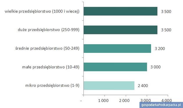 Mediany wynagrodzeń całkowitych wwojewództwie podkarpackim w2016 roku wfirmach różnej wielkości (brutto wzł). Źródło: Ogólnopolskie Badanie Wynagrodzeń przeprowadzone przez Sedlak & Sedlak w2016 roku