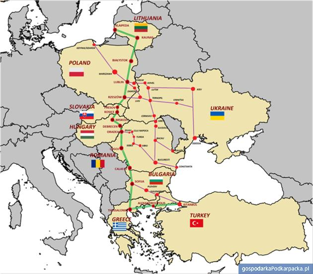 Schemat przebiegu drogi ekspresowej Via Carpathia