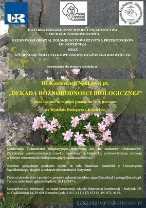 III Konferencja Naukowa Dekada Różnorodności Biologicznej