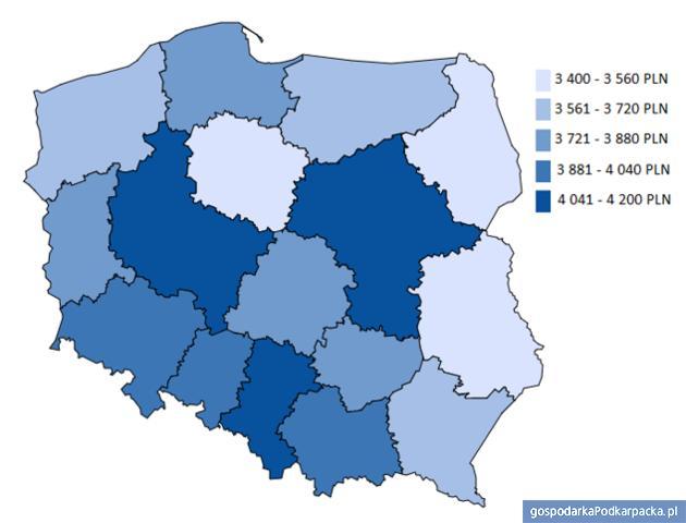 Mediana wynagrodzenia całkowitego brutto pracowników fizycznych w różnych województwach. Źródło Sedlak&Sedlak