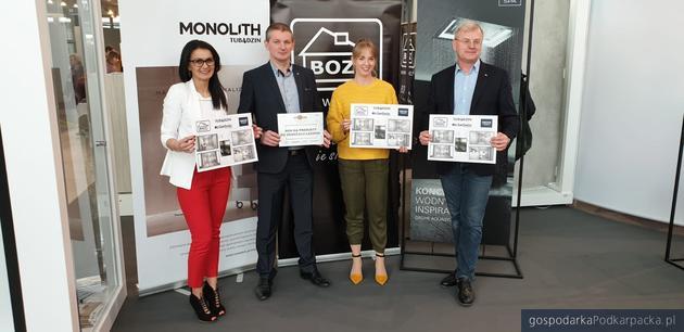 Od lewej, Ewelina Kolobius,  przedstawiciel SanSwiss; Marek Baran, dyr. Salonu Łazienek BOZ; Karolina Galińska, przedstawicielka regionalna Grupy Tubądzin; Piotr Strzalkowski, dyrektor sprzedaży Grohe.