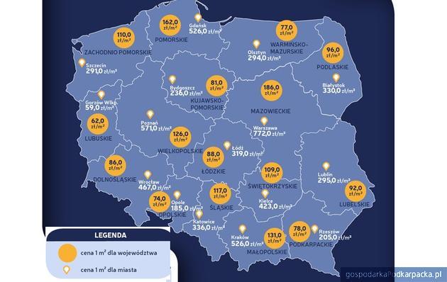 Ceny działek budowlanych w lipcu 2019. Rzeszów i Podkarpackie na tle kraju