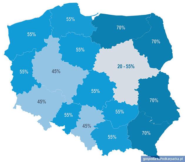 Mapa wysokości pomocy regionalnej w SOI