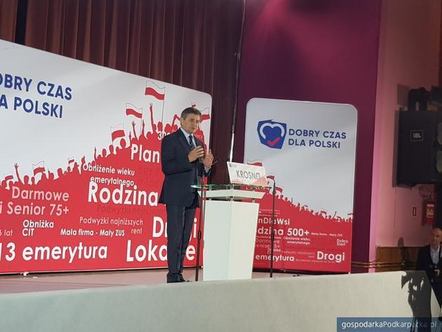 Marek Kuchciński na konwencji PiS w Krośnie. Fot. twitter/pisorgpl