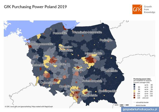 Siła nabywcza w 2019. Polska i Podkarpackie na tle Europy