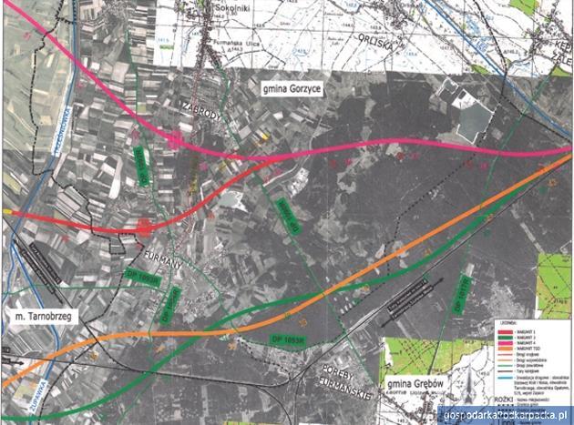 Proponowane przebiegi S74 w gminie Gorzyce