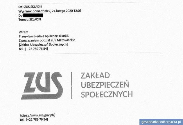 Tak wygląda fałśzywy mail z ZUS