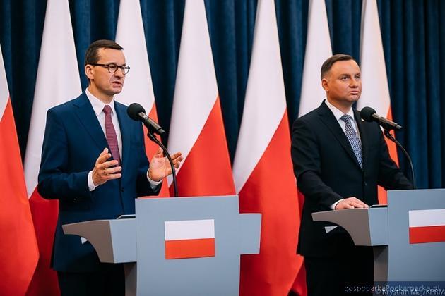 Premier Mateusz Morawiecki i prezydent Andrzej Duda. Fot. Krystian Maj/KPRM