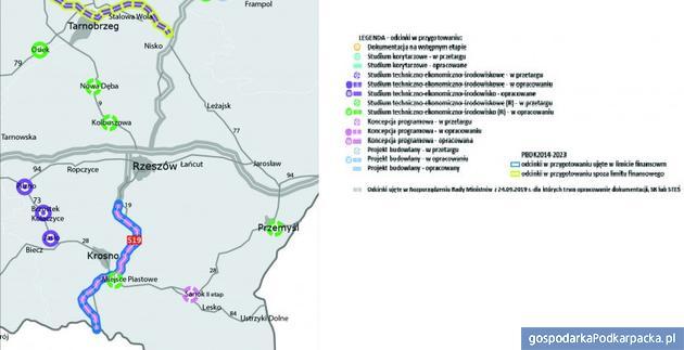Plan przebiegu drogi ekspresowej S19 Babica-Barwinek. Źródło: GDDKiA
