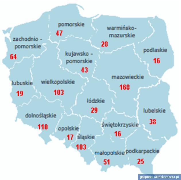 Liczba upadłości w rozbiciu na województwa. Źródło Coface