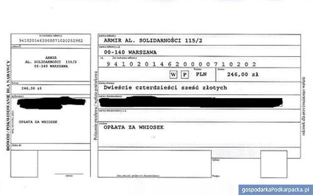 Dowód wpłaty 246 zł trafi na konto oszustów